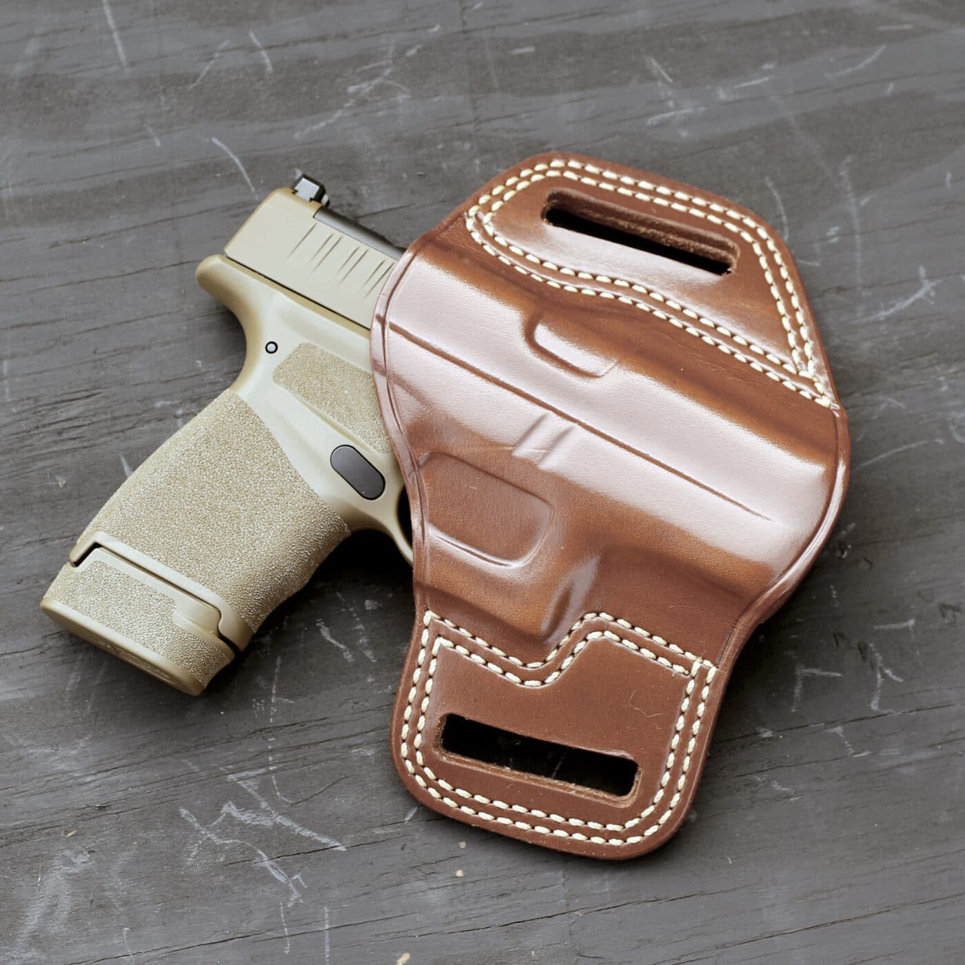 Galco Combat Master holster with Hellcat pistol in it
