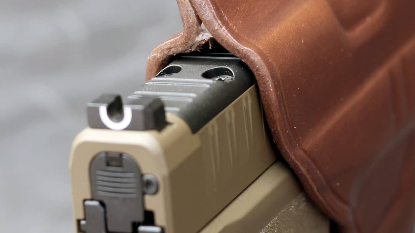 Edge detail on Galco leather holster for the Springfield Armory Hellcat