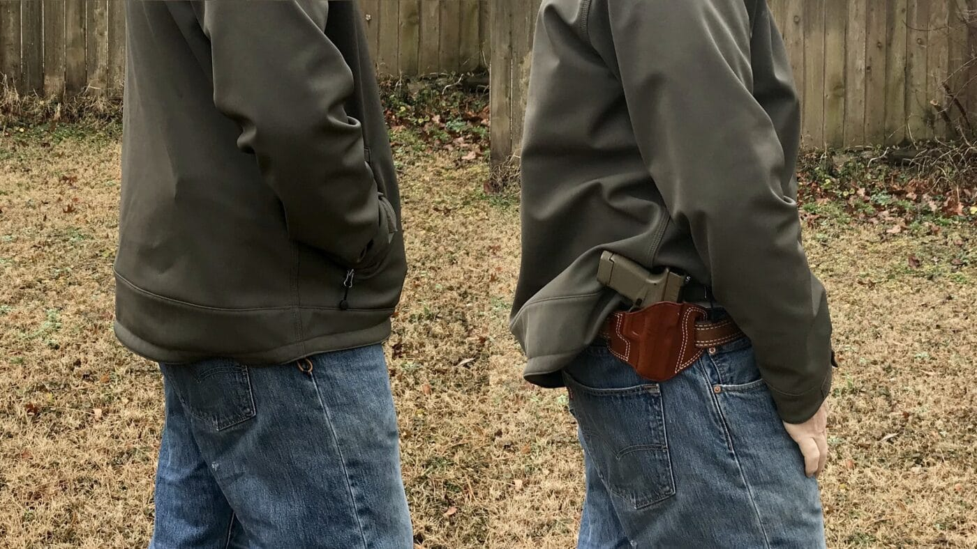 Man demonstrating concealment characteristics of the Combat Master holster