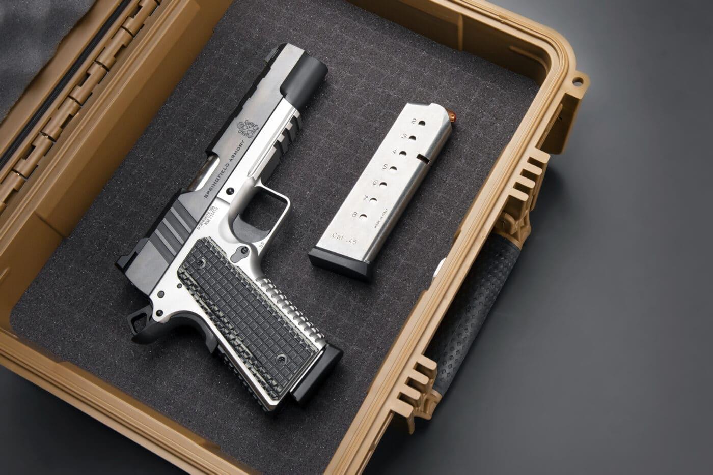 Springfield Emissary Emissary 1911 pistol in case