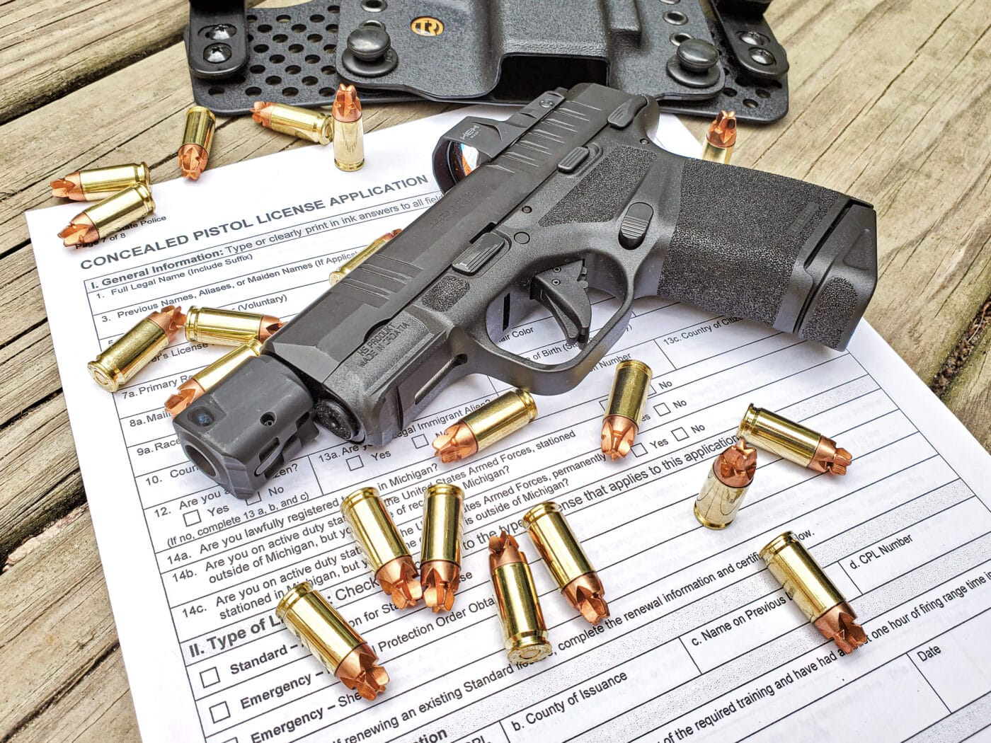 CPL application with ammo and gun on top