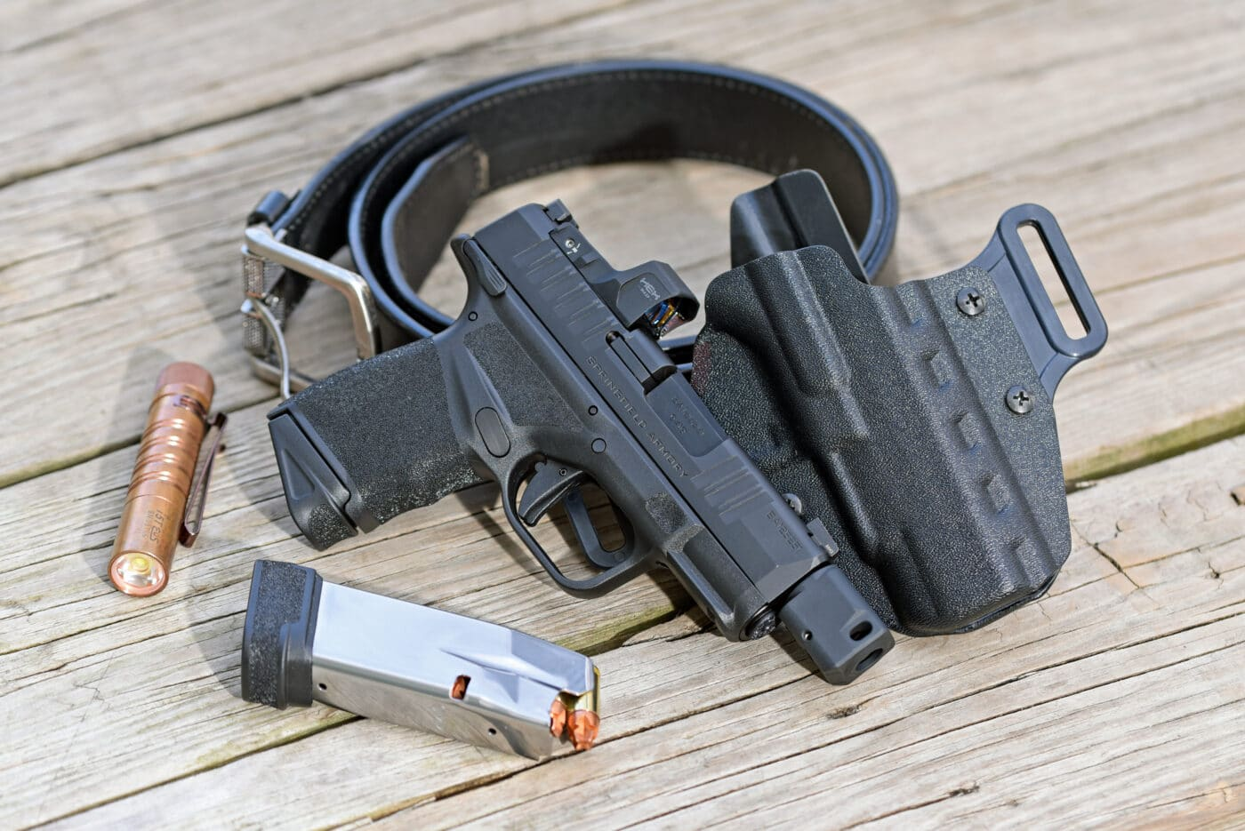 Hellcat RDP with magazine and CCW holster