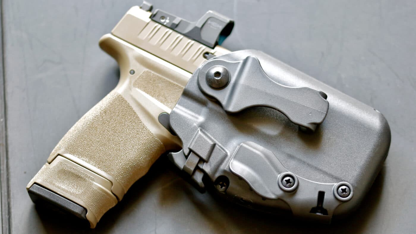 Safariland holster with pistol with red dot optic