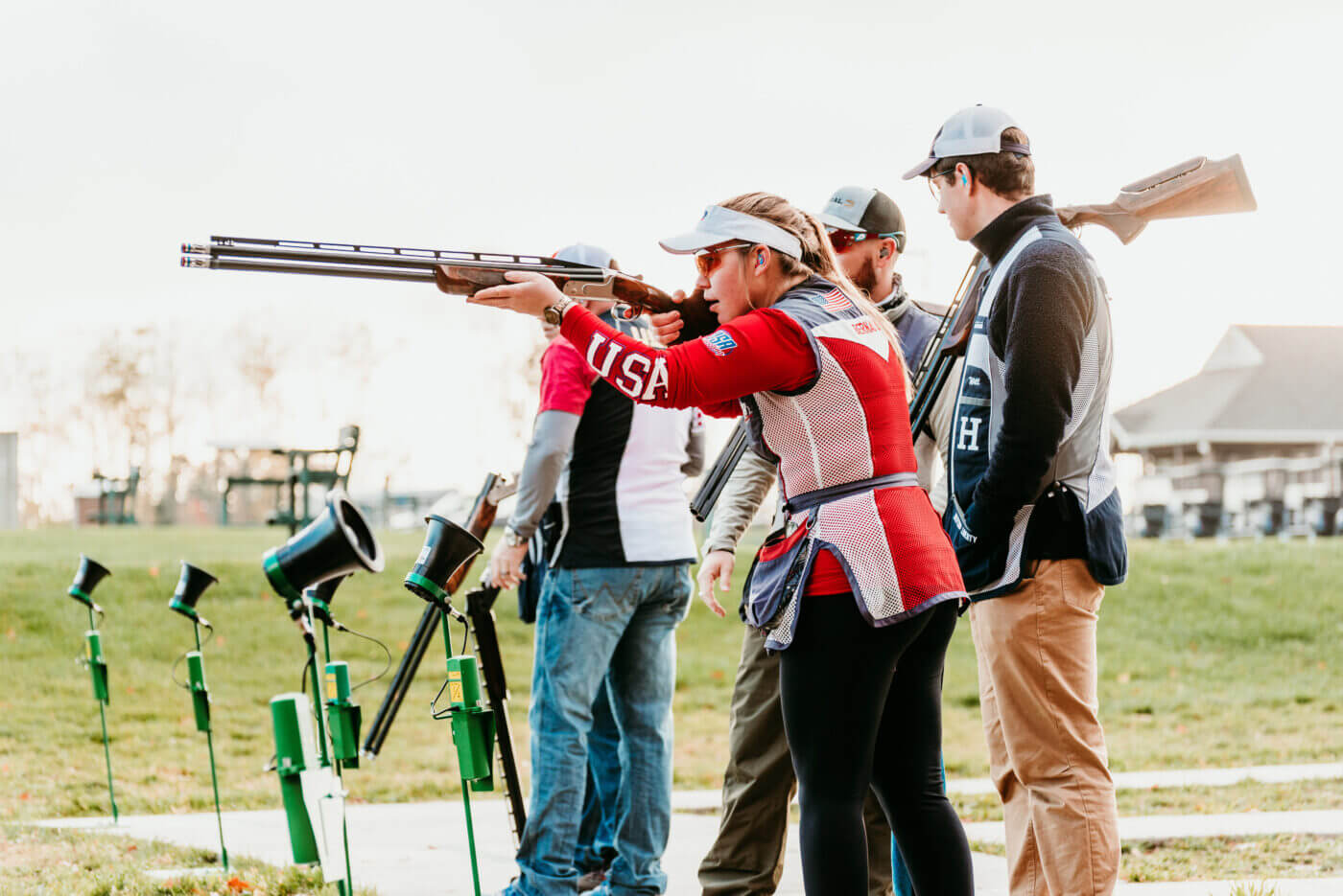 People in shotgun competition team at Hillsdale College