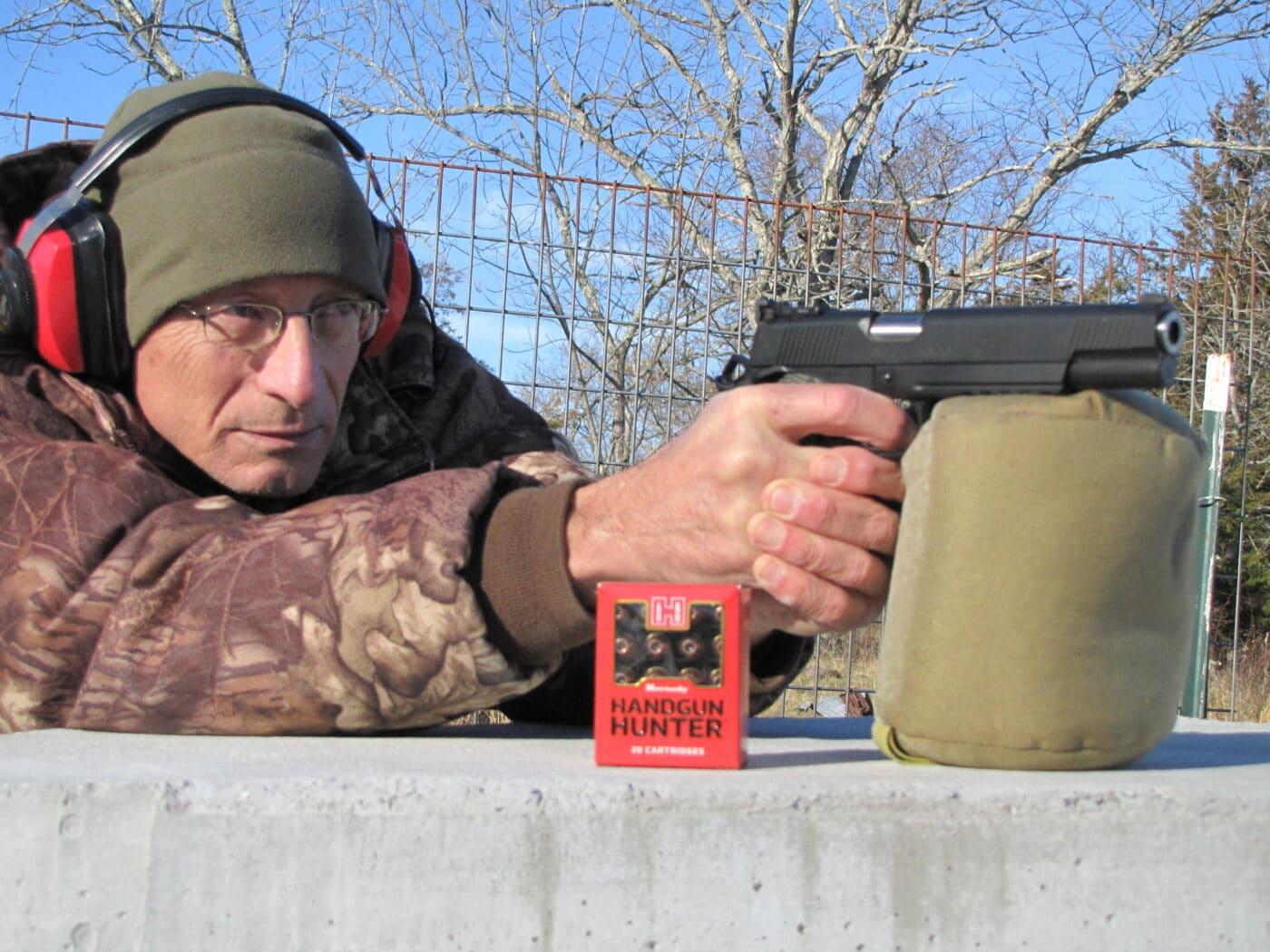 Man range testing the Hornady Handgun Hunter ammo