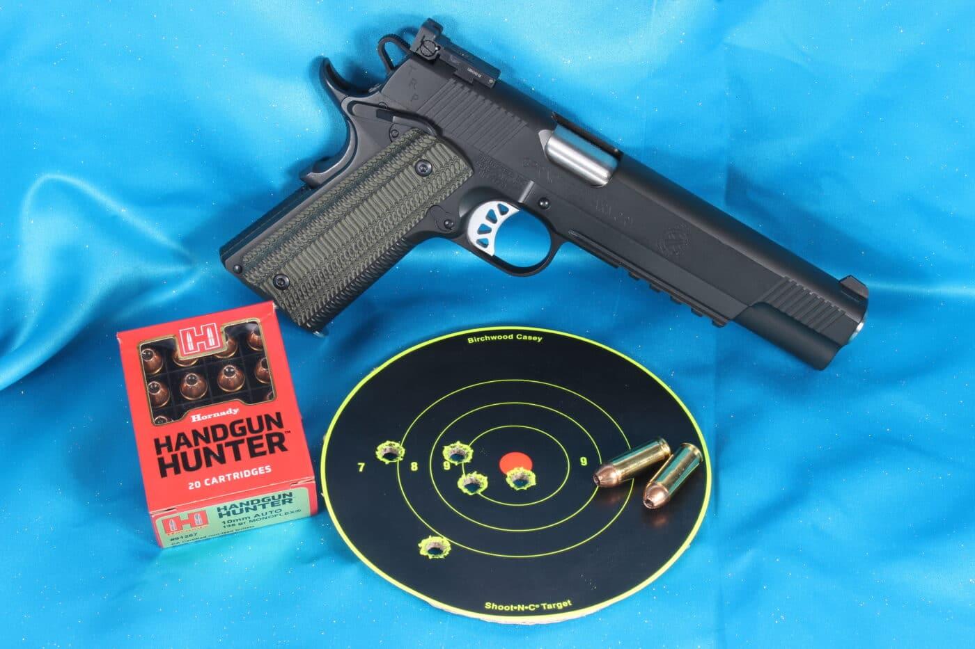 Hornady Handgun Hunter ammo with 911 pistol and test target