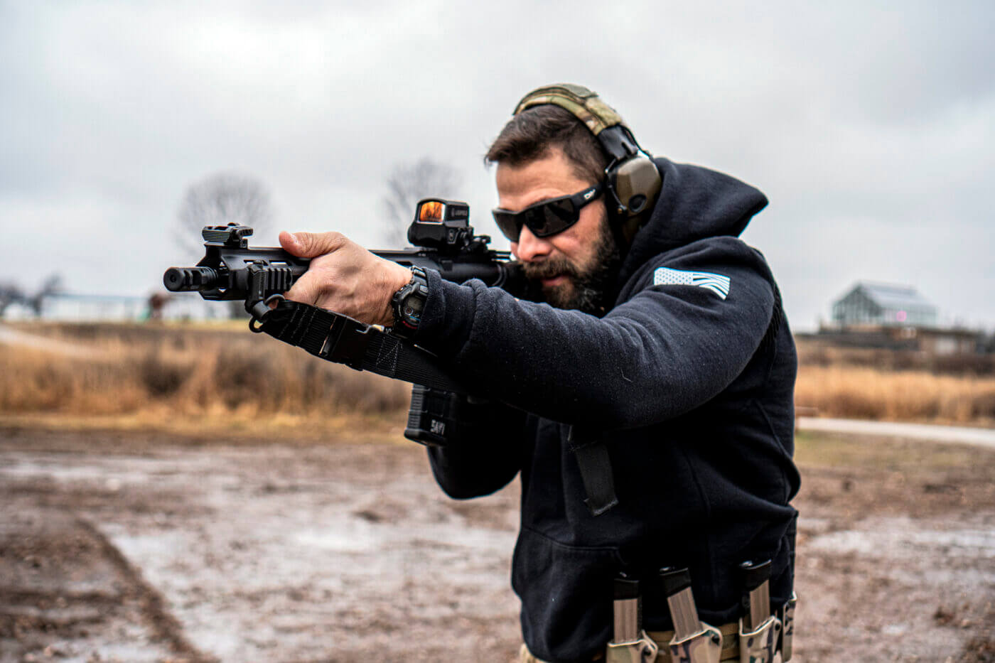 Armageddon Gear Heavy Carbine Sling being used by a man shooting a rifle