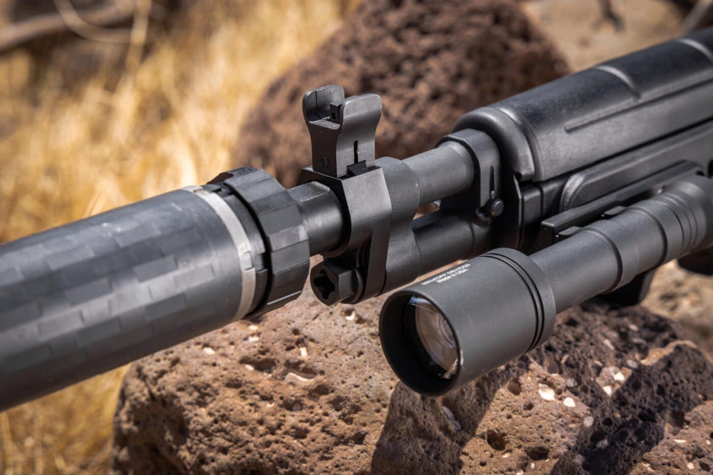 Delta P Design SOCOM Muzzle Tread Adapter and Schester Manufacturing M1A SOCOM Gas Plug on an M1A rifle