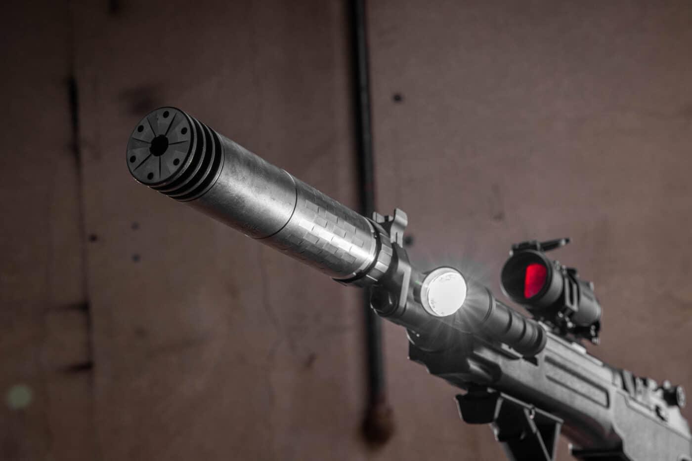 SilencerCo Omega 300 suppressor on an M1A rifle