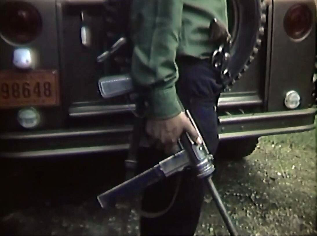 M3A1 held by guard in Guatemala in 1971
