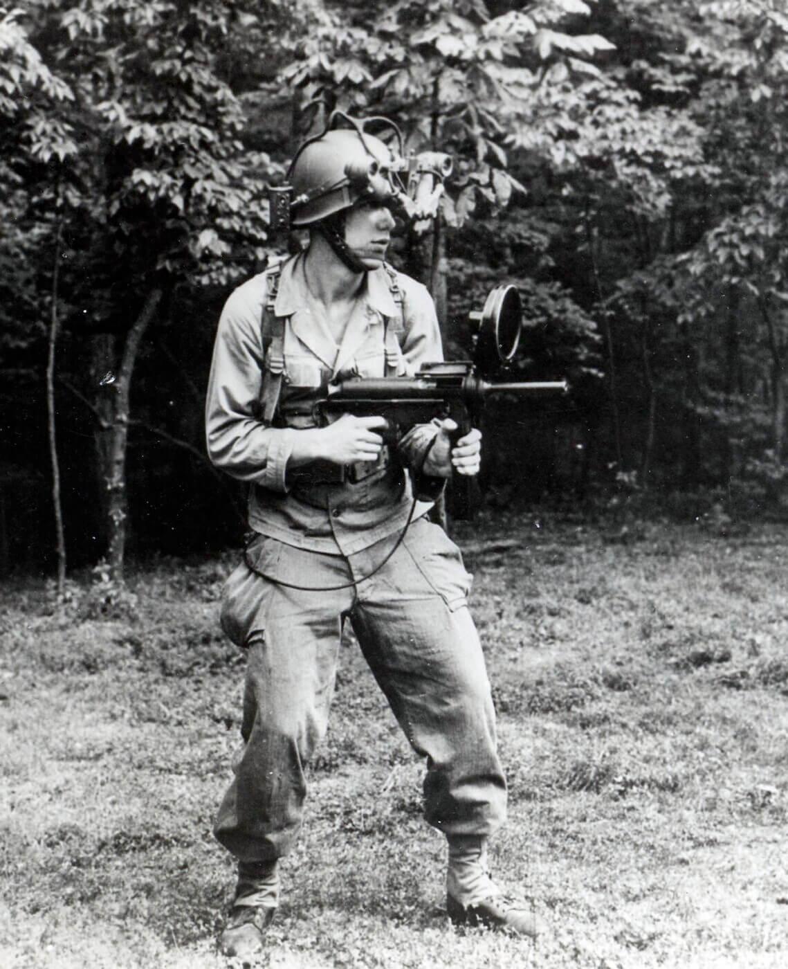 M3 SMG Sniperscope held by solider at Fort Belvoir, VA in November 1946