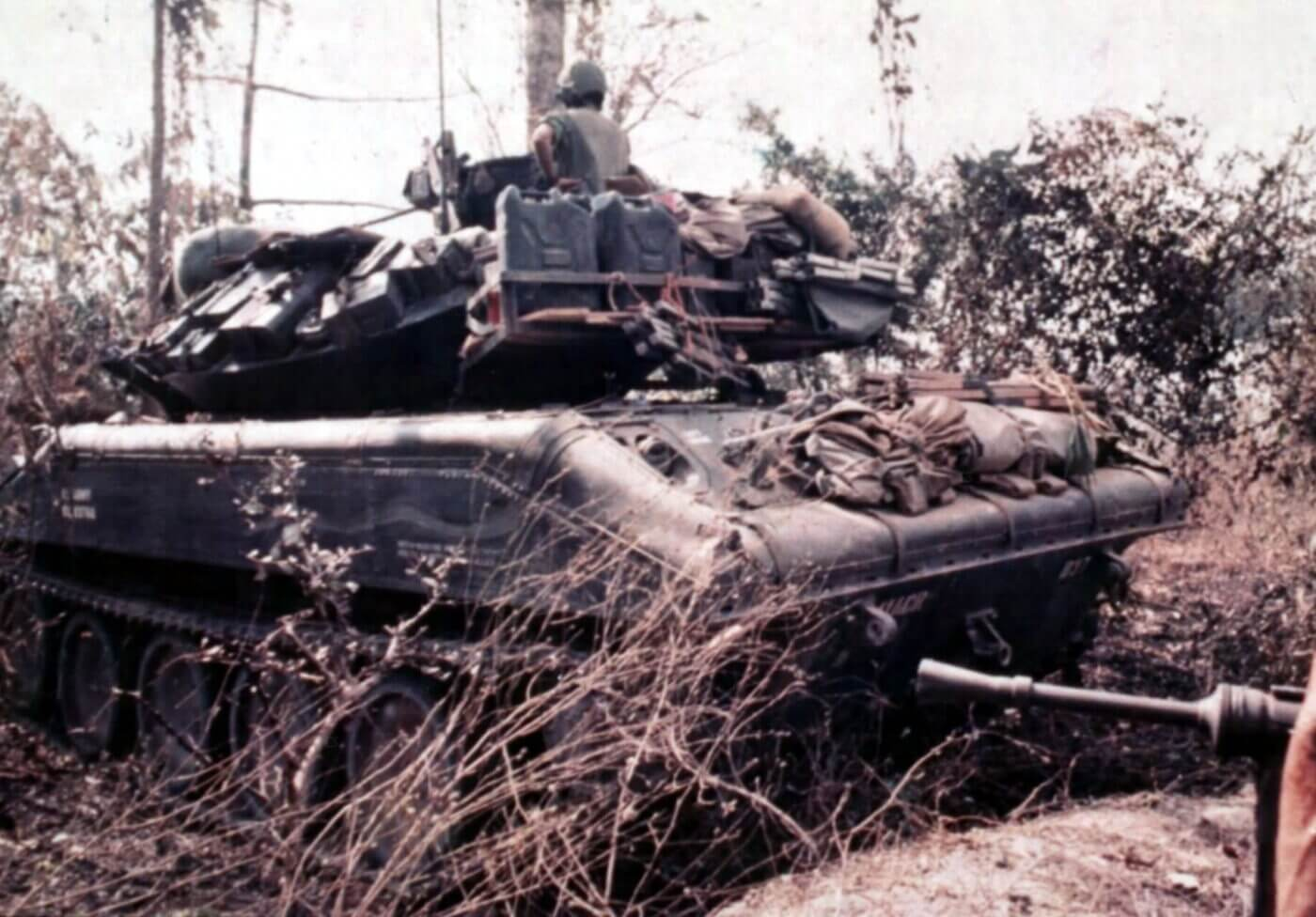 Sheridan tank of the 11th Armored Division with an M3 Grease Gun