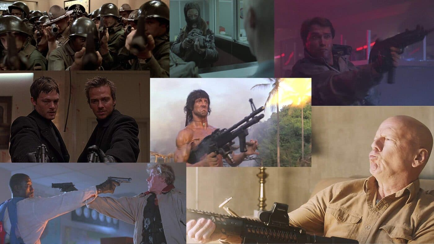 Collage of movie stills from movies with the worst gun mistakes