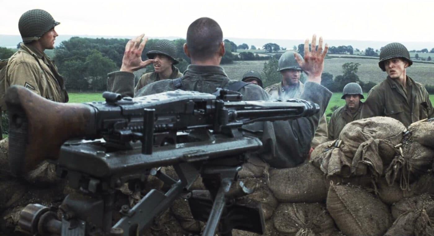 Saving Private Ryan movie still with MG42