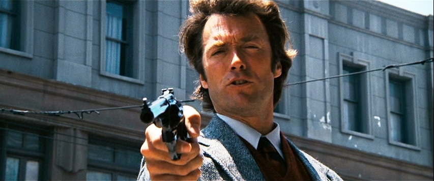 Dirty Harry holding a revolver