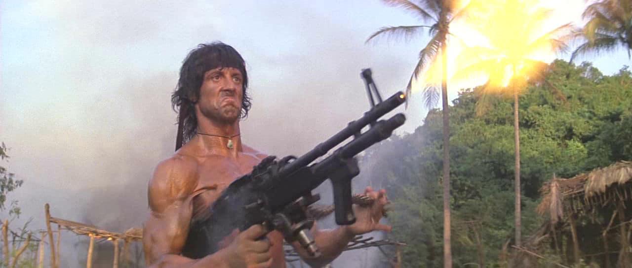 Rambo with a M60 machine gun