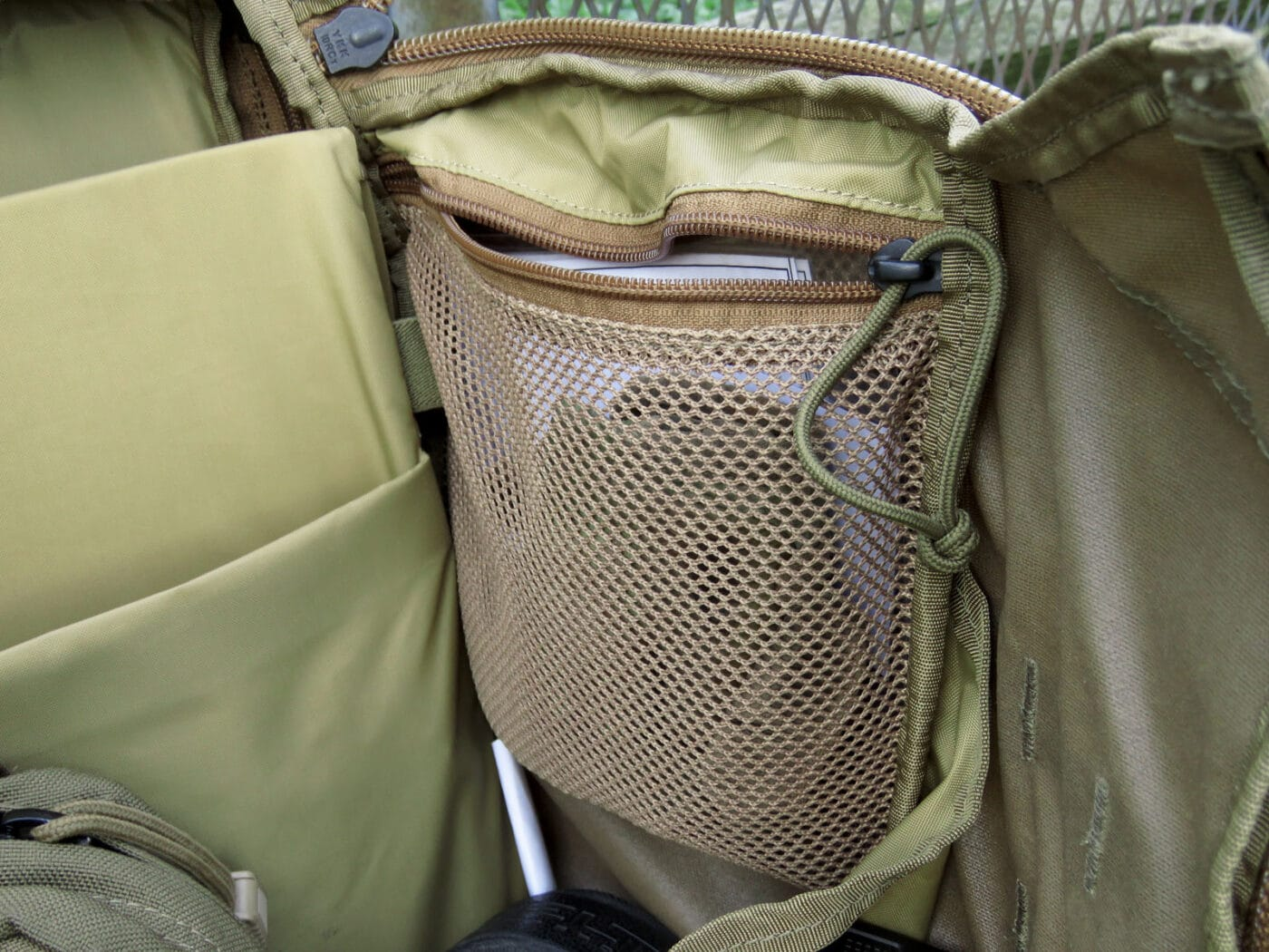 Storage compartment on Mystery Ranch backpack