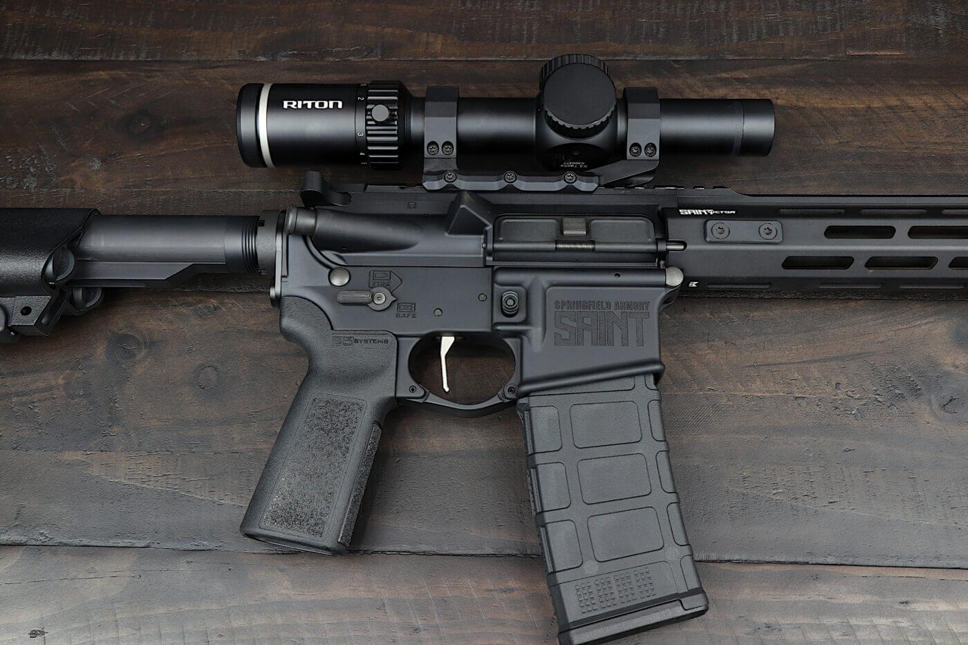 Riton LPVO scope on a SAINT Victor rifle