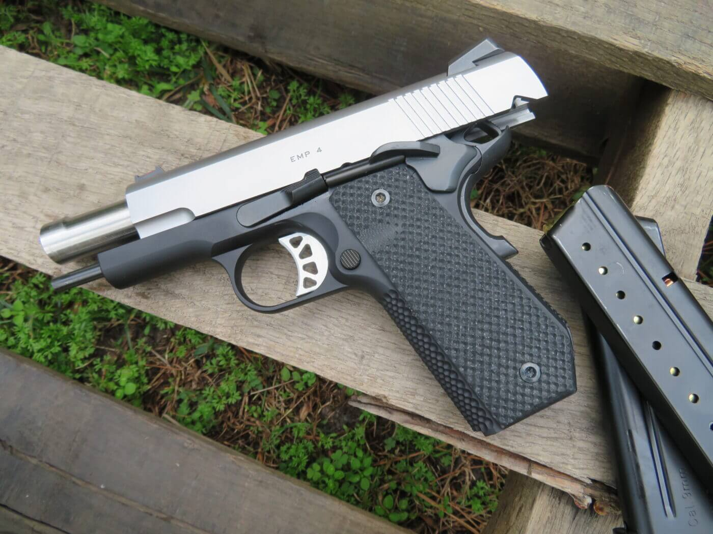 Springfield Armory EMP CCC pistol on wood pallet