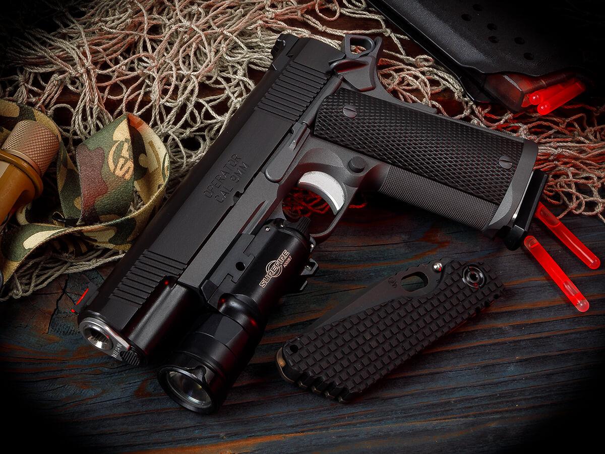 A custom built Springfield Range Officer 9mm.