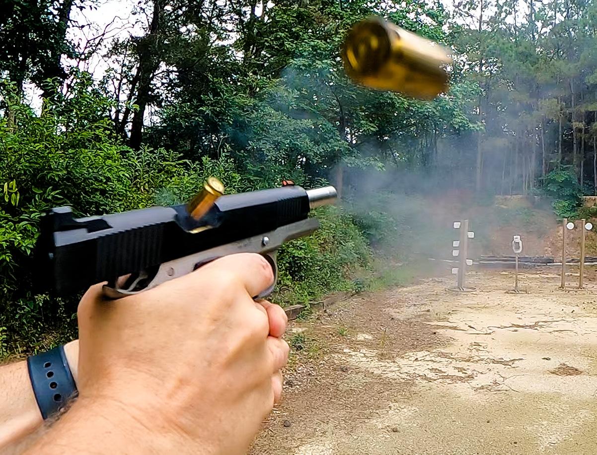 Man shooting Ronin pistol at range