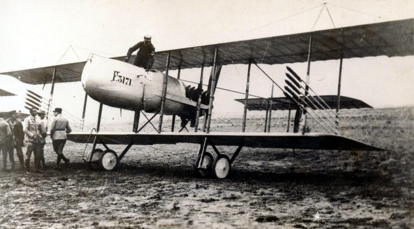Farman plane with rockets