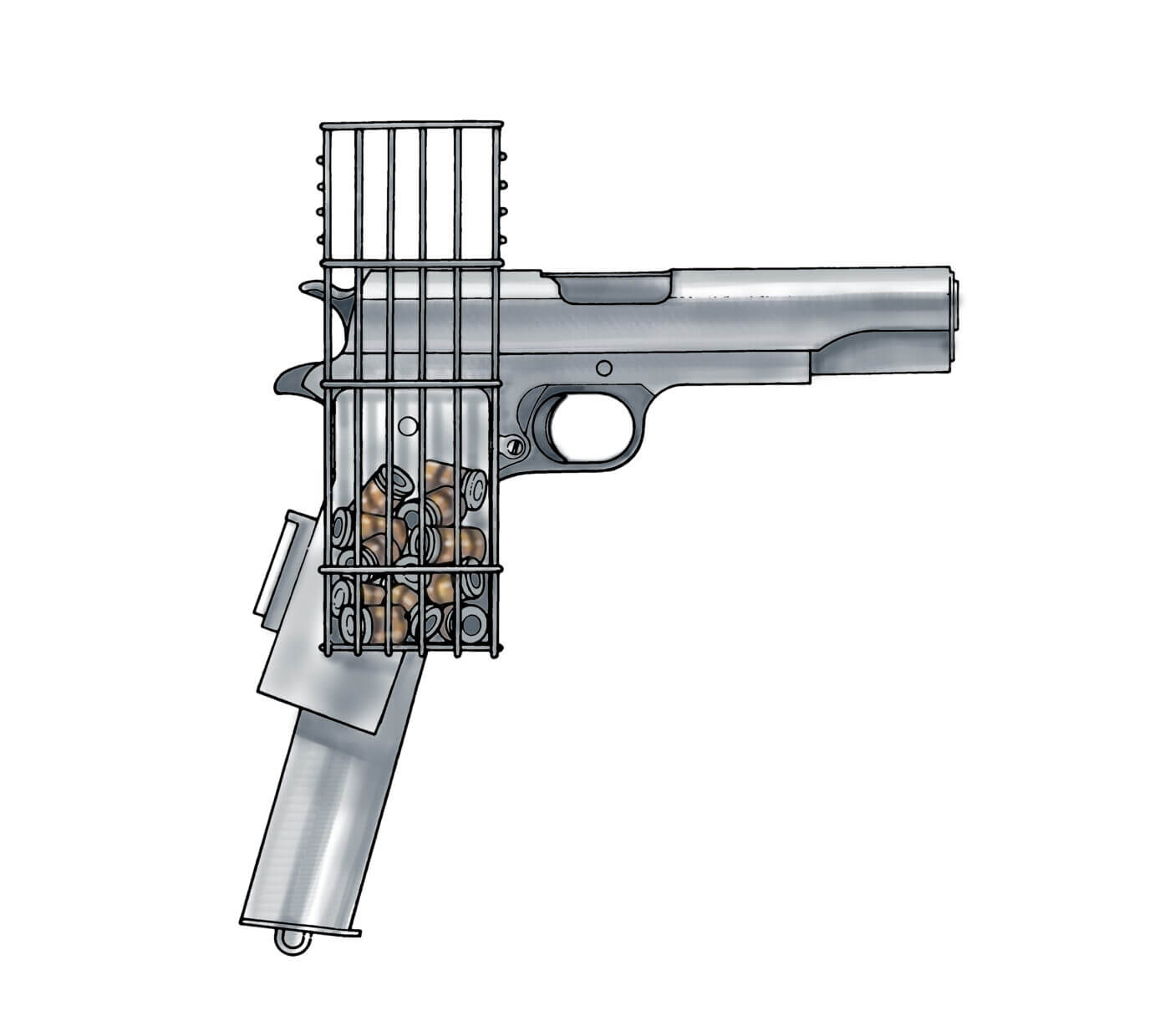 Drawing of M1911 with special cage