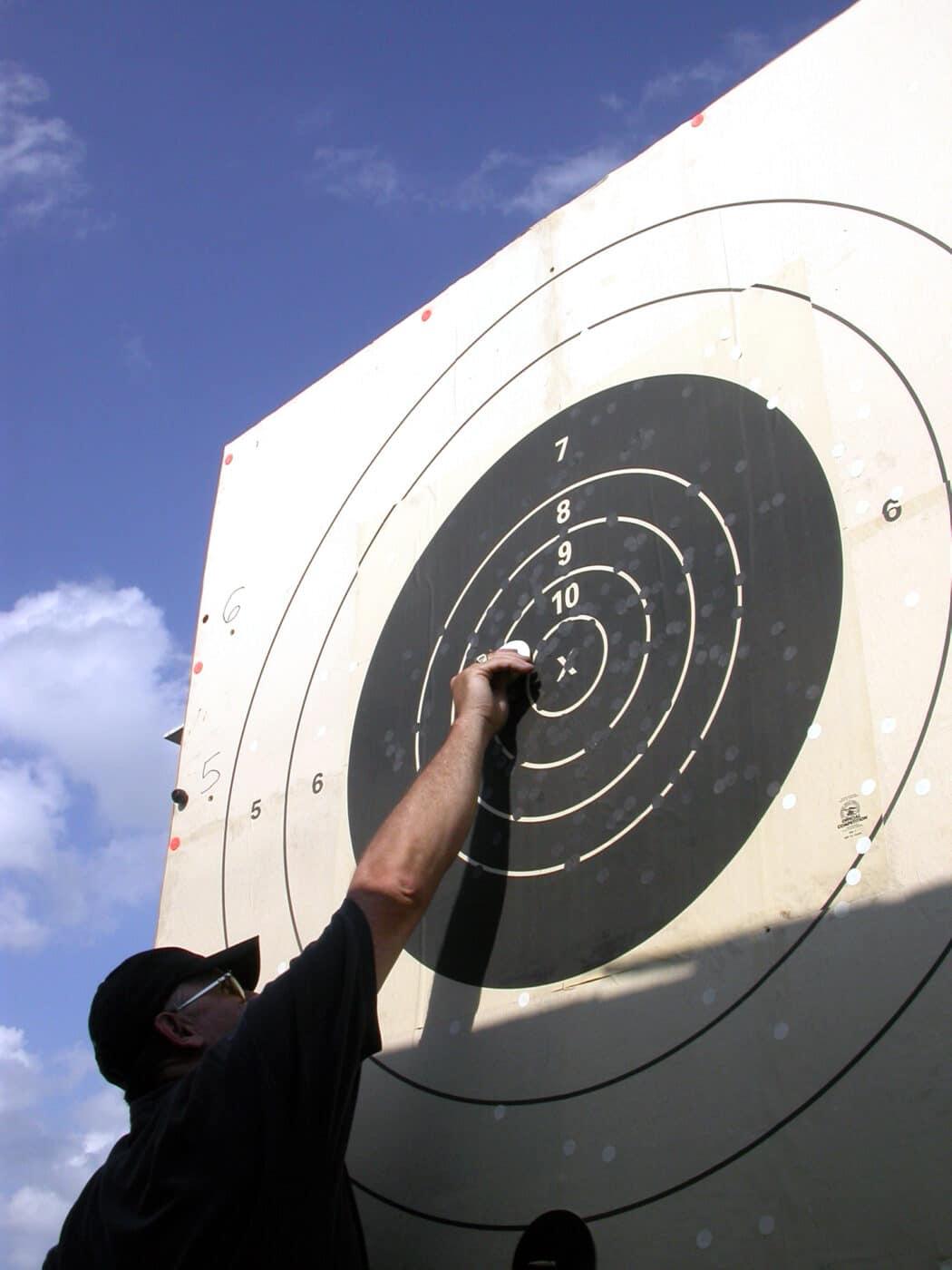 Long range target being scored