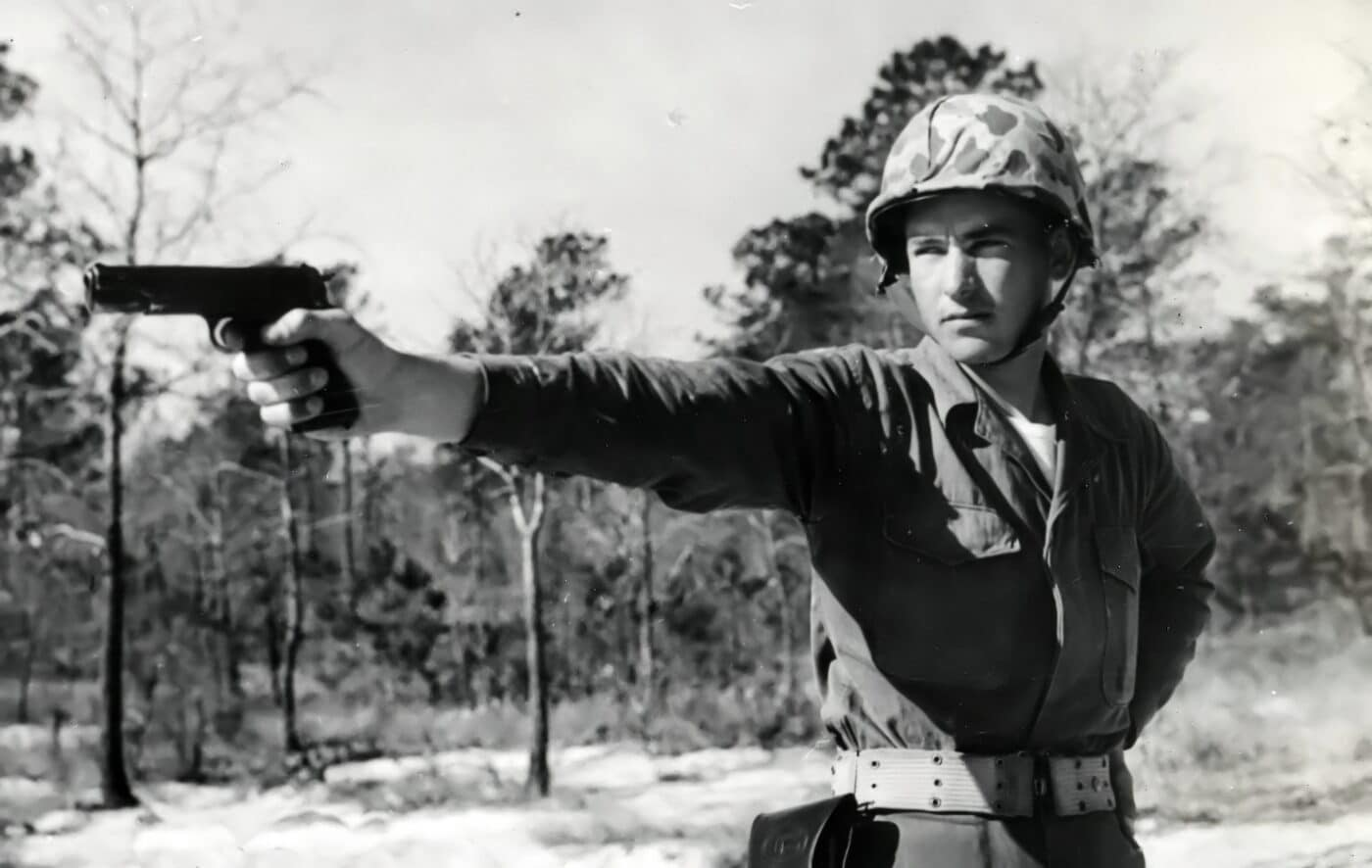 US Marine wielding a M1911 in the Korean War