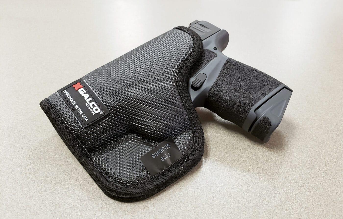 Springfield Hellcat pistol in Galco StukOn-U pocket holster