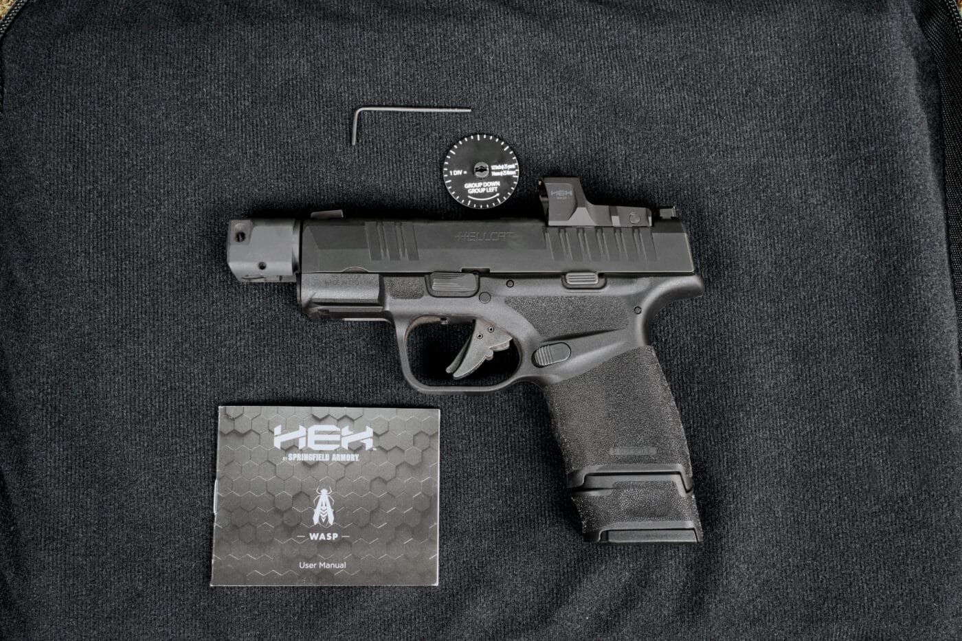 HEX Wasp micro red dot sight on Hellcat RDP pistol with tools to mount it