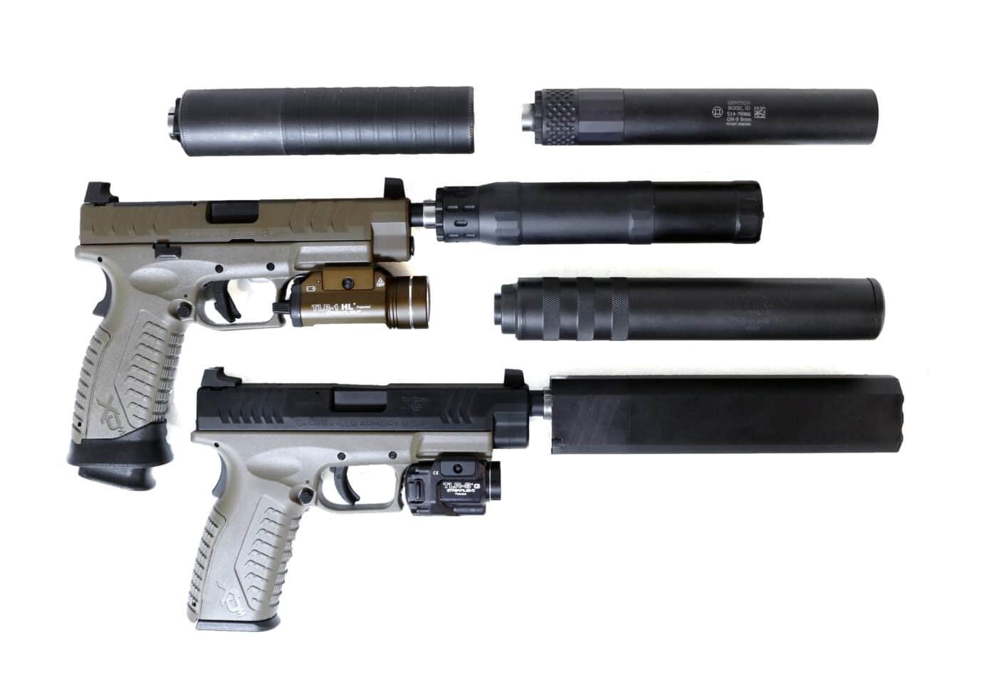 .45 ACP suppressor on 9mm pistol