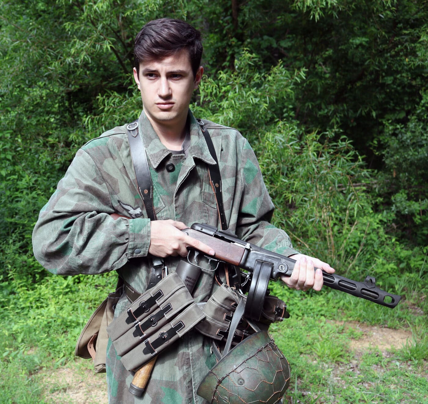German reenactor with Russian PPSh SMG