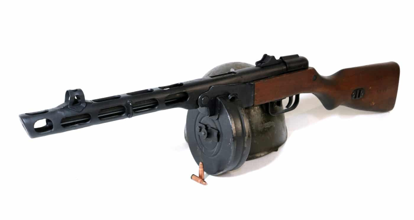 Angled view of the PPSh submachine gun
