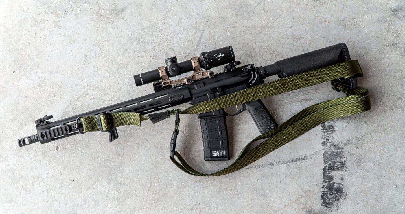 Three-point sling set up on a SAINT rifle