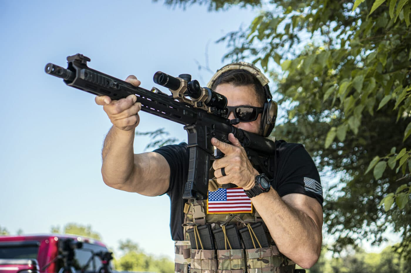 Man using a single point sling with rifle