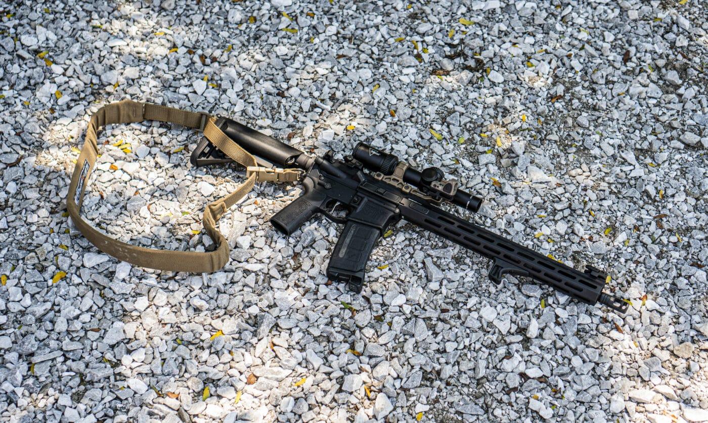 Single point sling on a Springfield AR-15 rifle
