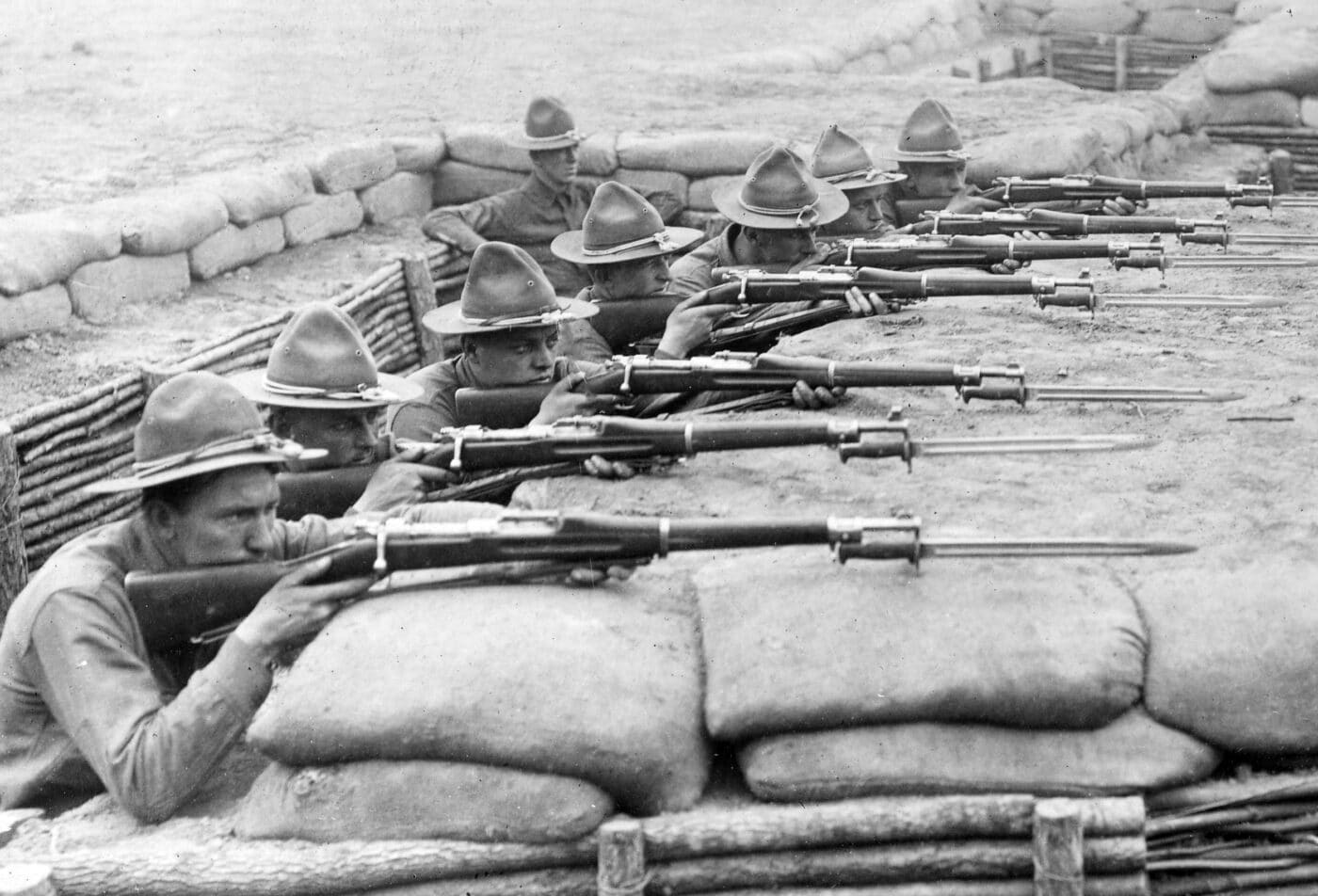 US Army recruits training with M1903 rifles