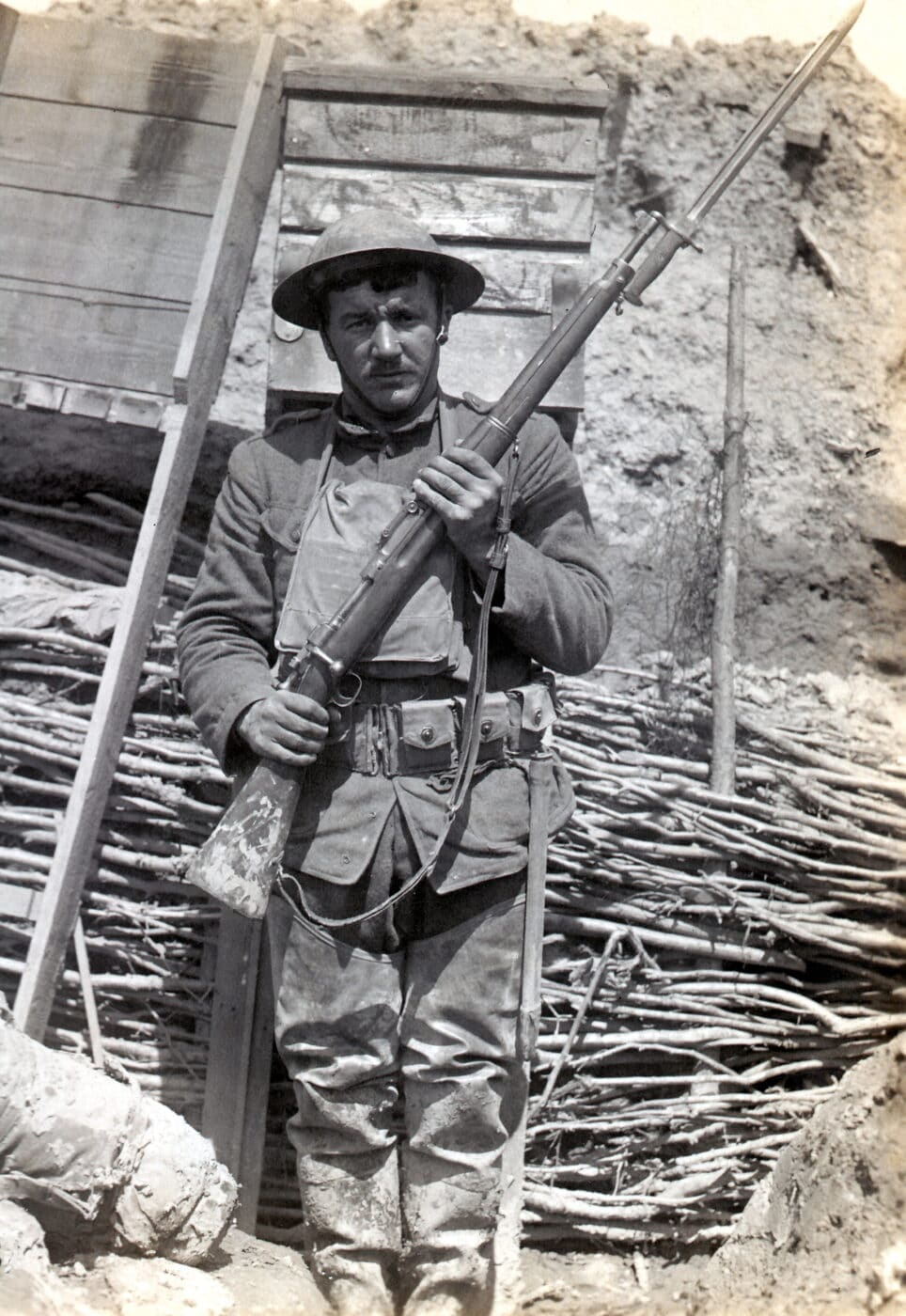 Battle-hardened U.S. soldier and his M1903 during WWI