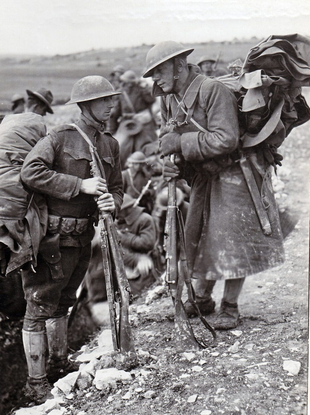 Men of the U.S. 28th Division in Donrecourt, France during WWI with M1903 rifles