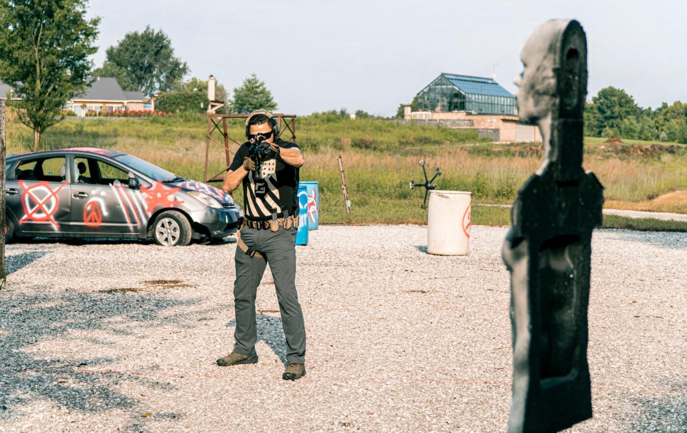 Man using 3D shooting targets during training