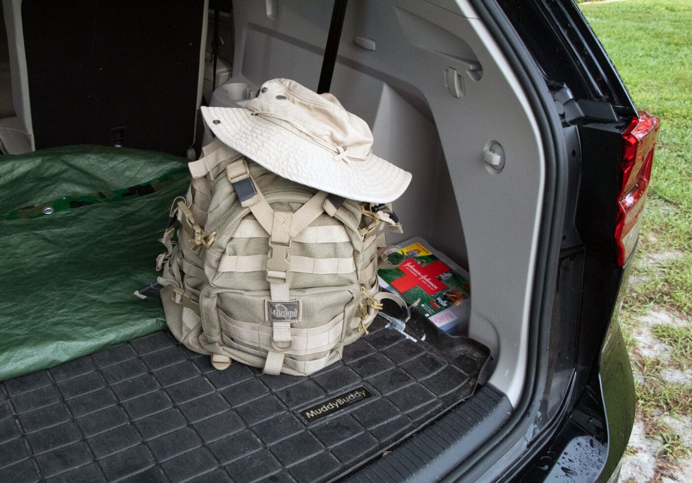 Get home bag shown in back of vehicle