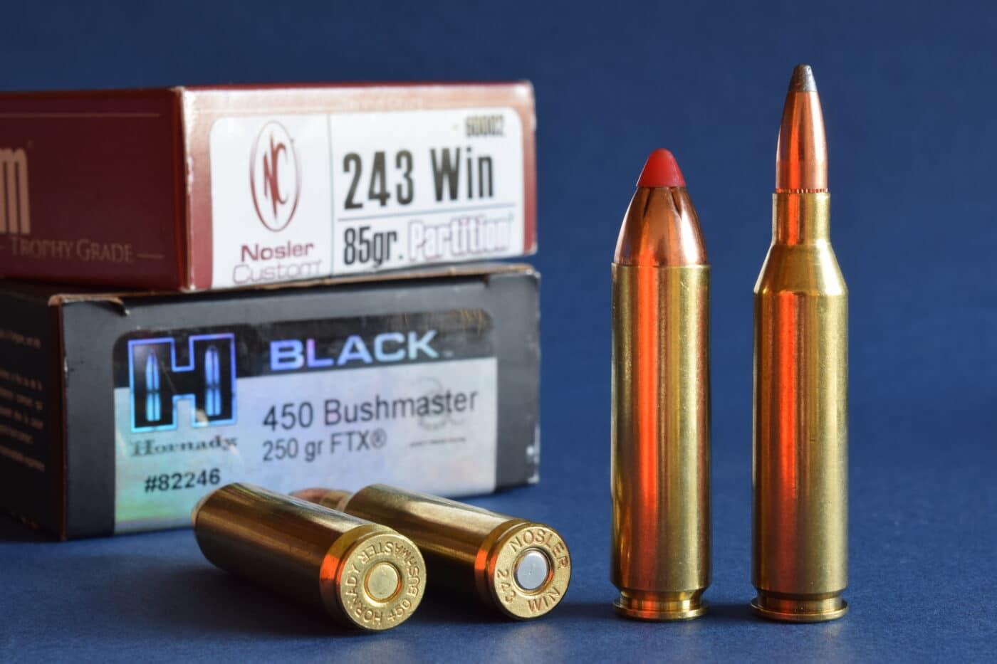 .450 Bushmaster vs. 243 ammunition