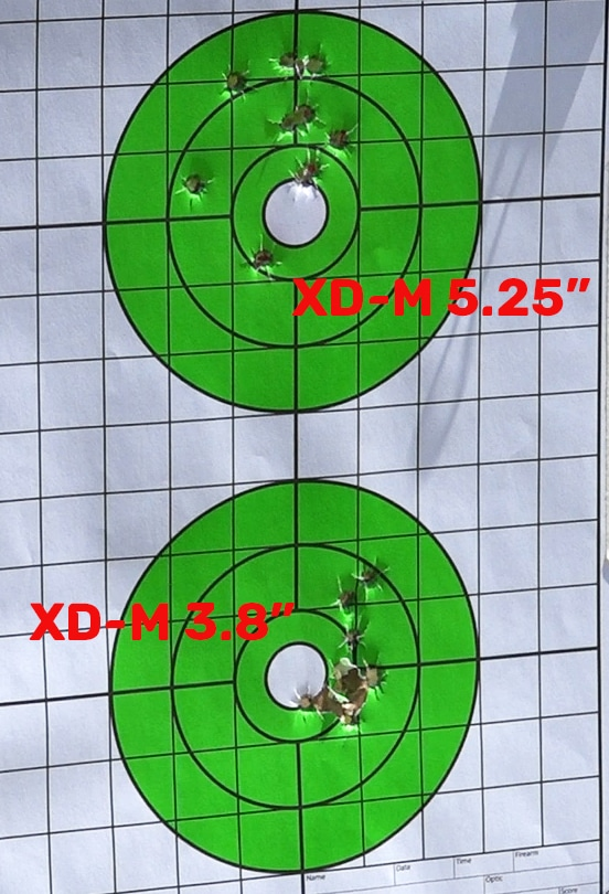 Target measurements for the XD-M Elite comparison testing