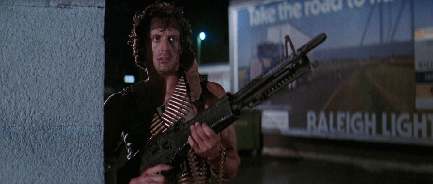 Sylvester Stallone carries an M60 while portraying the character John Rambo in First Blood