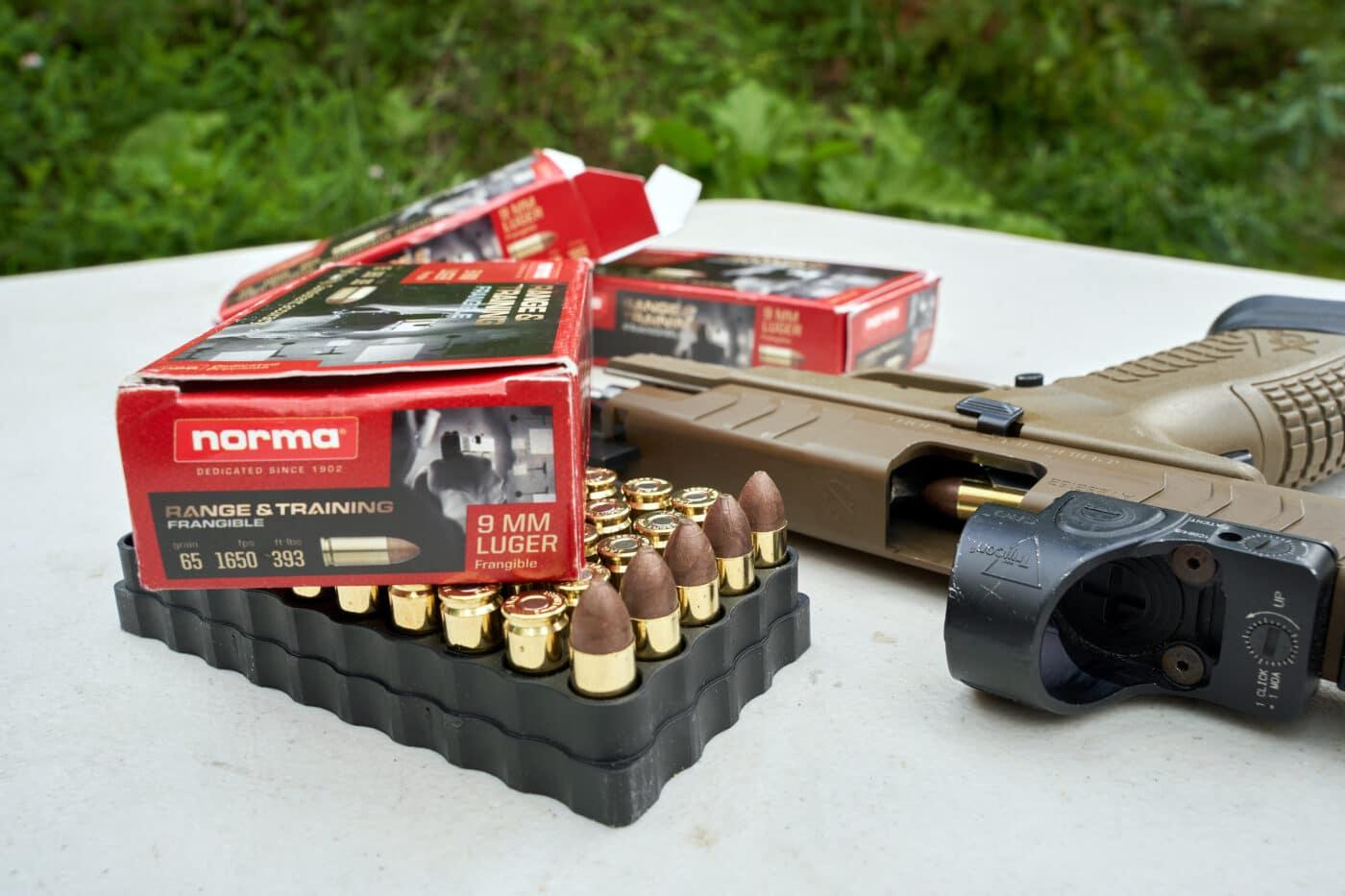 Norma Range and Training Frangible ammunition next to Springfield pistol