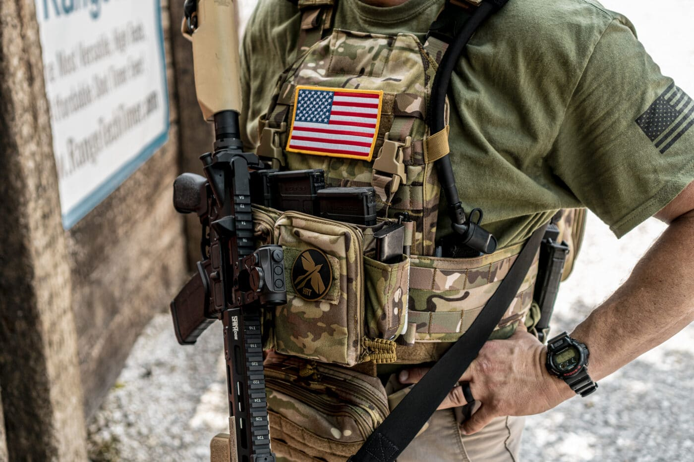 RAC Plate Carrier in camo color being worn by a man