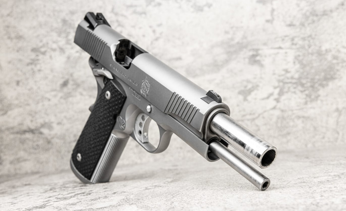 Stainless barrel and guide rod shown in TRP 1911 pistol
