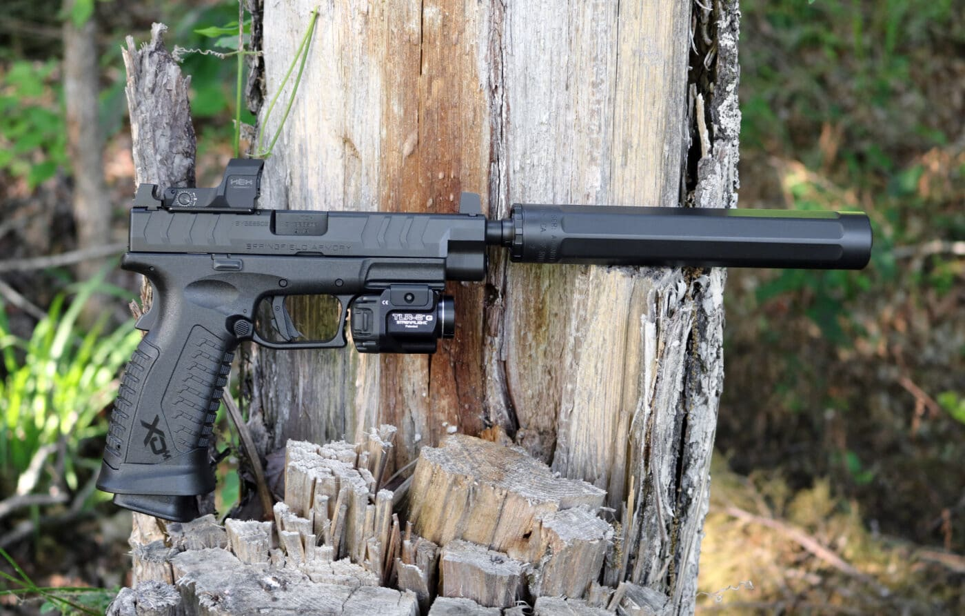 Surefire Ryder 9-Ti2 Sound Suppressor on an XD-M Elite OSP pistol