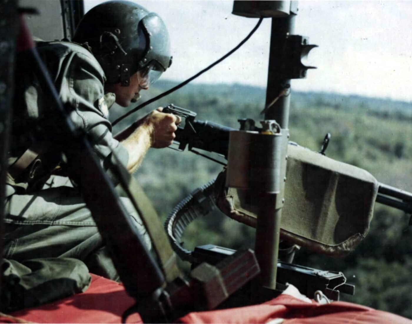 U.S. Army Air Cav with M60 in helicopter